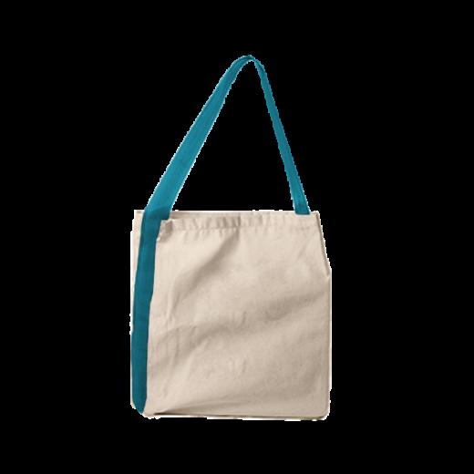 bawełniana torba z taśmą nośną niebieską
