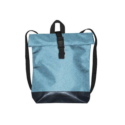 błękitny plecak street z czarnym dnem