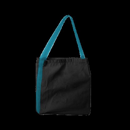 czarna torba z taśmą turkusową