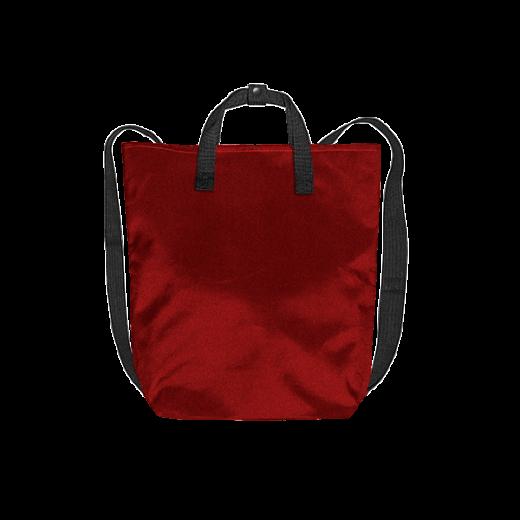 czerwony plecak minimal z czarnymi pasami