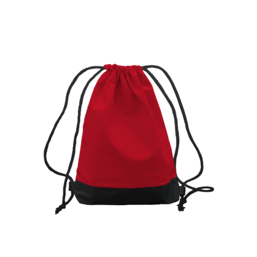 czerwony worek z troczkami