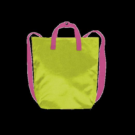 kanarkowy plecak minimal z różowymi pasami