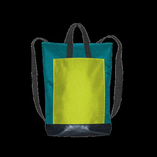 turkusowy plecak city z kanarkową kieszenią