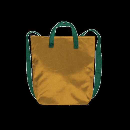 złoty plecak minimal z zielonymi taśmami