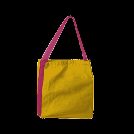 żółta torba z taśmą koloru różowego